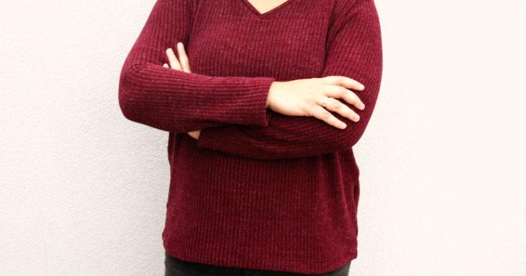 J'ai cousu : le Tobin Sweater avec un col V de Cashmerette