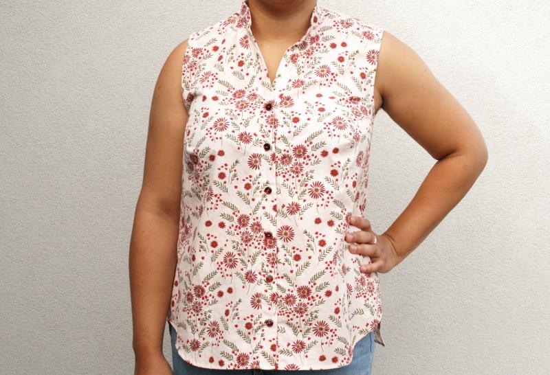 Blog couture : Archer sans manche en tissu Lise Tailor - vue de face